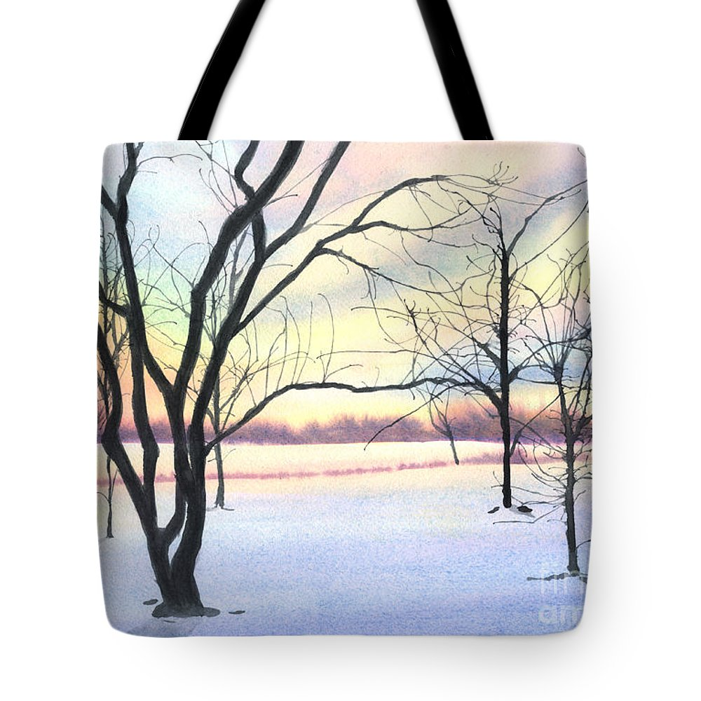 Sunrise Tote Bag featuring the painting Winter Sunrise by Lynn Quinn