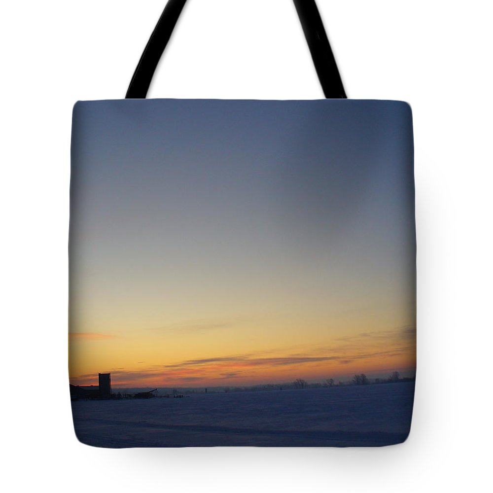Photography Tote Bag featuring the photograph Winter Sunrise Over The Farm by Peggy King