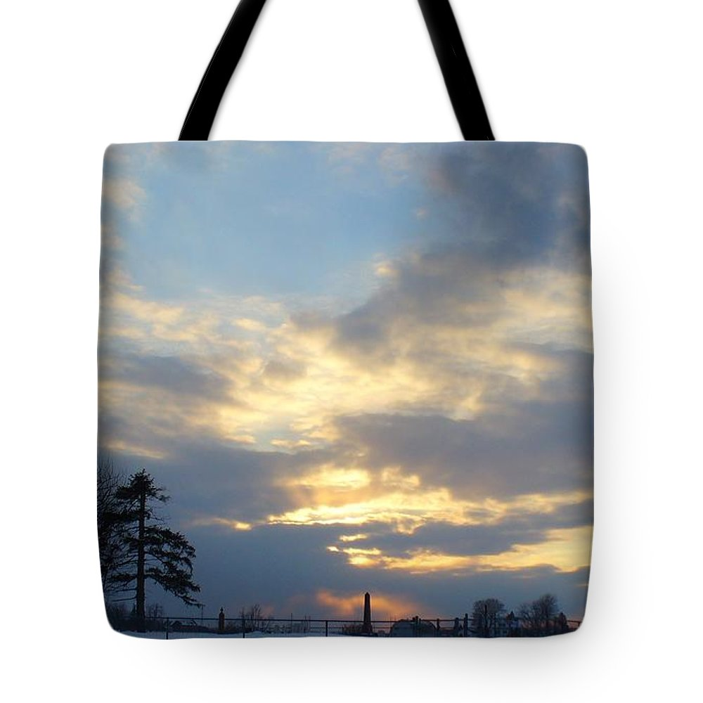 Sunset Tote Bag featuring the photograph Winter Sunset - Lambton County by Peggy King