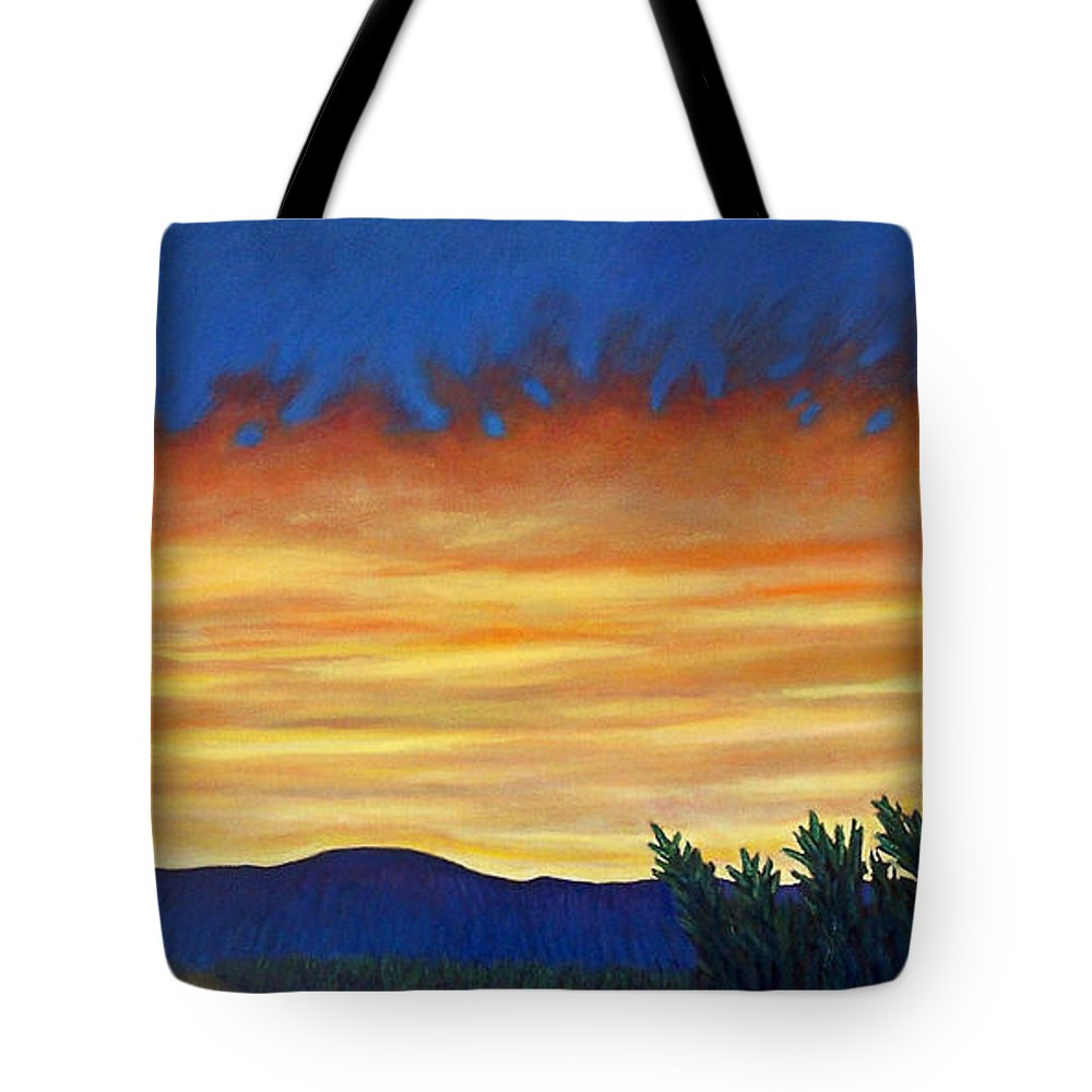 Sunset Tote Bag featuring the painting Winter Sunset In El Dorado by Brian Commerford