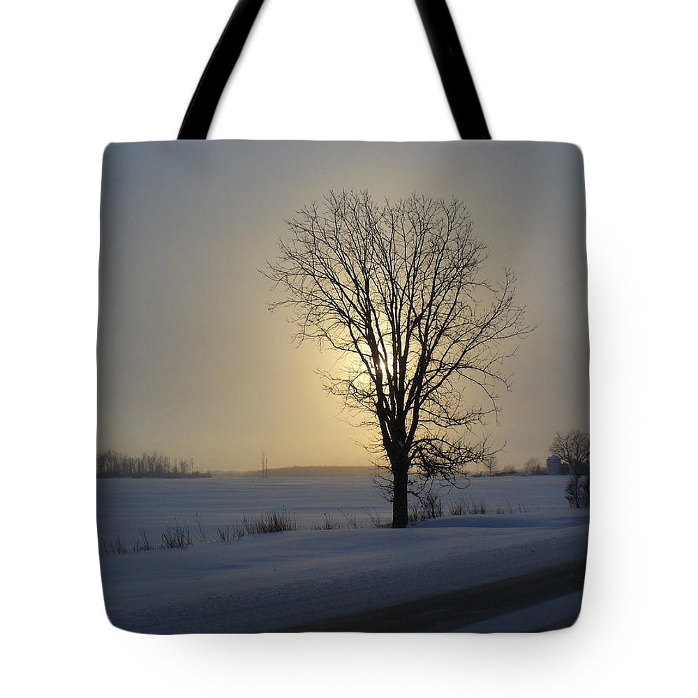 Sun Tote Bag featuring the photograph Winter Sunset In Lambton County by Peggy King