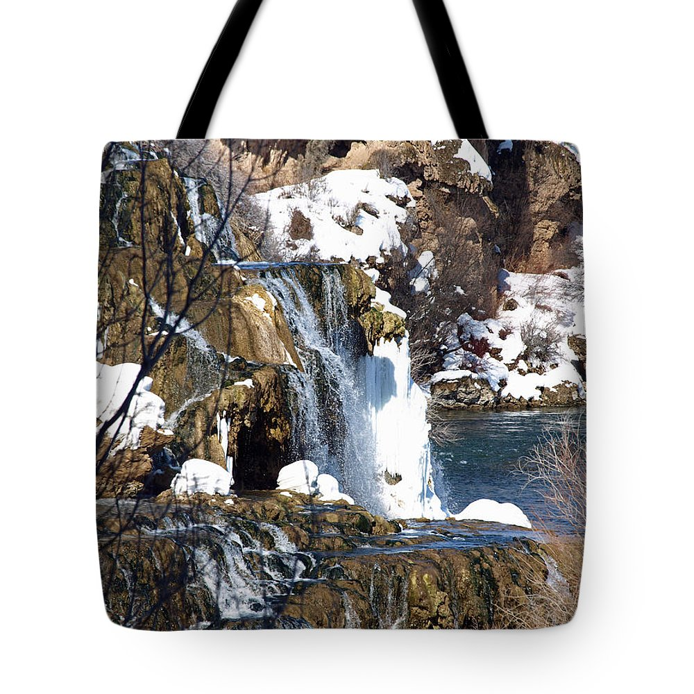 Nature Tote Bag featuring the photograph Winter Time At The Falls by DeeLon Merritt