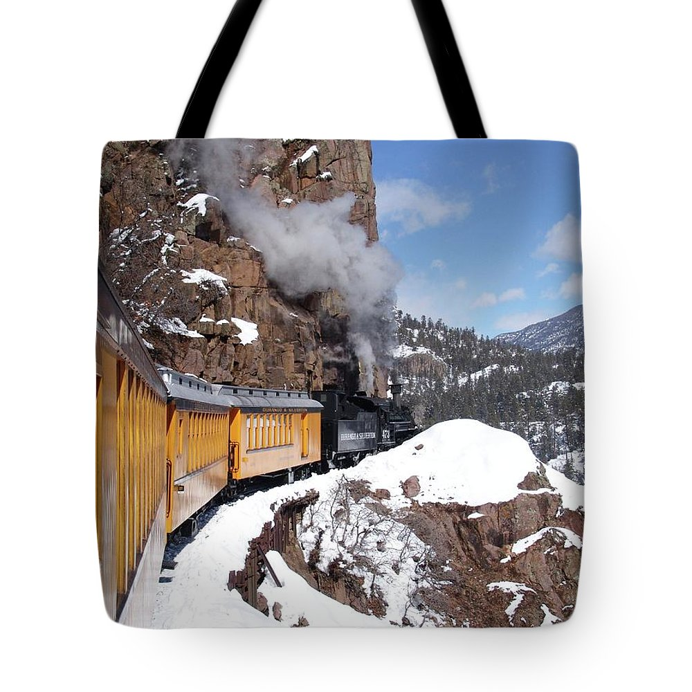 Train Tote Bag featuring the photograph Winter Train Durango Silverton Colorado by Carol Milisen