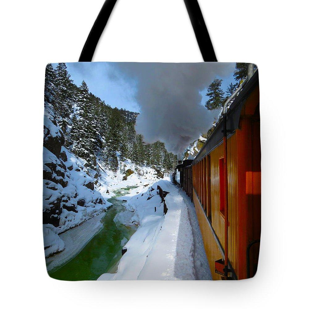 Train Tote Bag featuring the photograph Winter Train Durango Silverton Railway Colorado by Carol Milisen