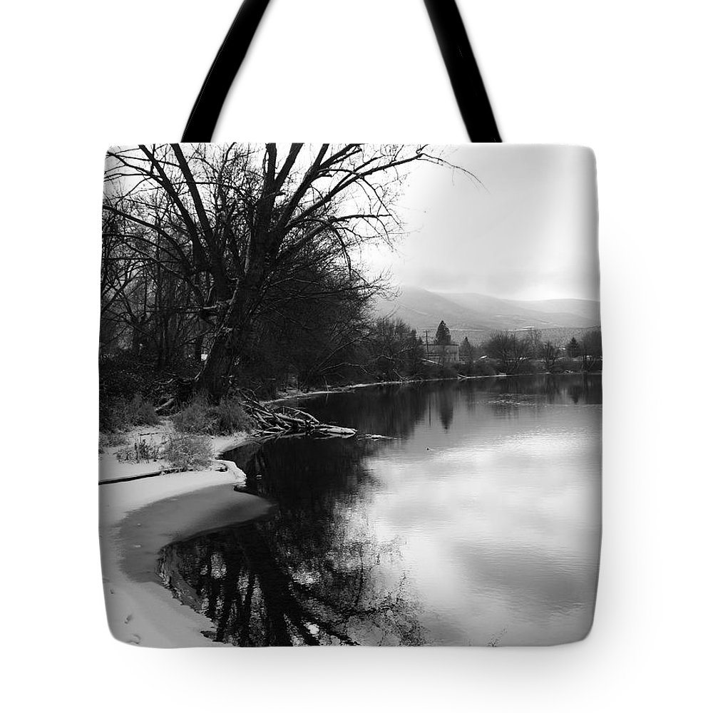 Black And White Tote Bag featuring the photograph Winter Tree Reflection - Black And White by Carol Groenen