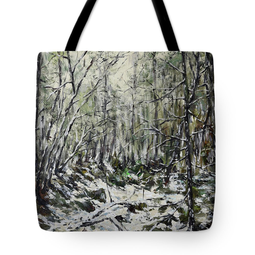 Painting Tote Bag featuring the painting Winter Trees by Eugene Kuperman