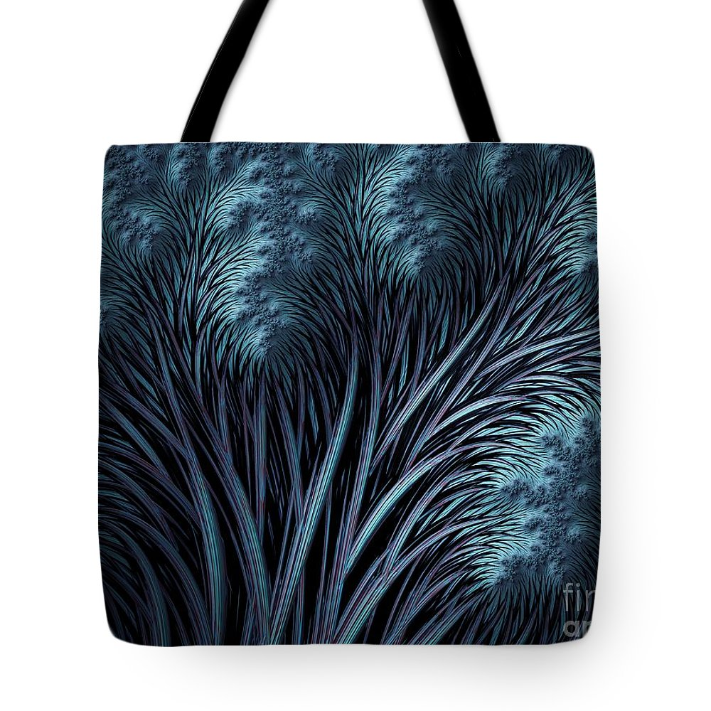 Winter Abstract Tote Bag featuring the digital art Winter Trees by John Edwards