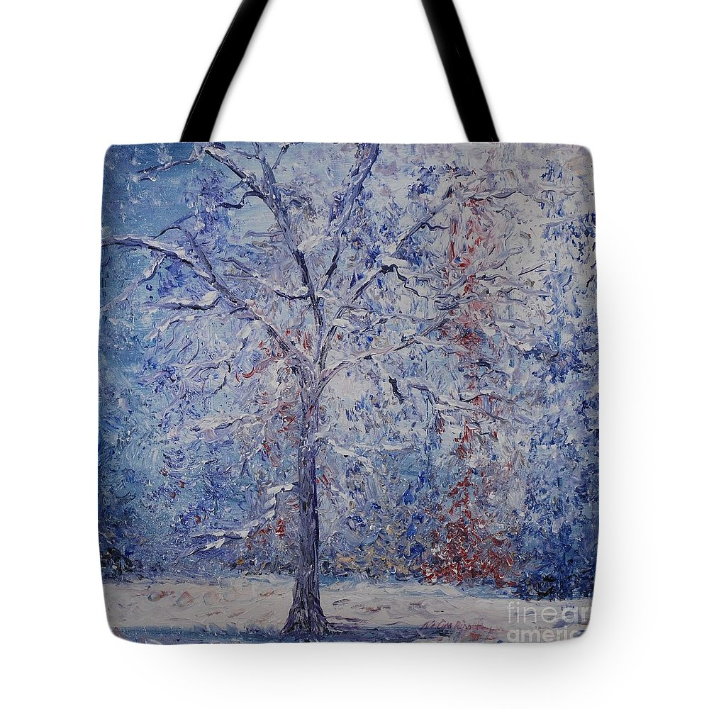 Winter Tote Bag featuring the painting Winter Trees by Nadine Rippelmeyer