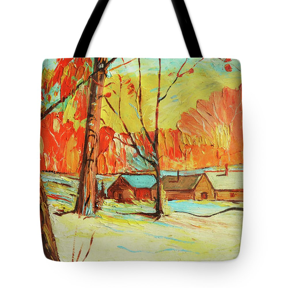 Snow Tote Bag featuring the painting Winter Trees by Richard Votch