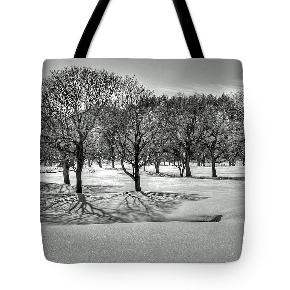 Winter Trees Shadows Snow Black White B&w Tote Bag featuring the photograph Winter Trees by Wayne Marshall Chase