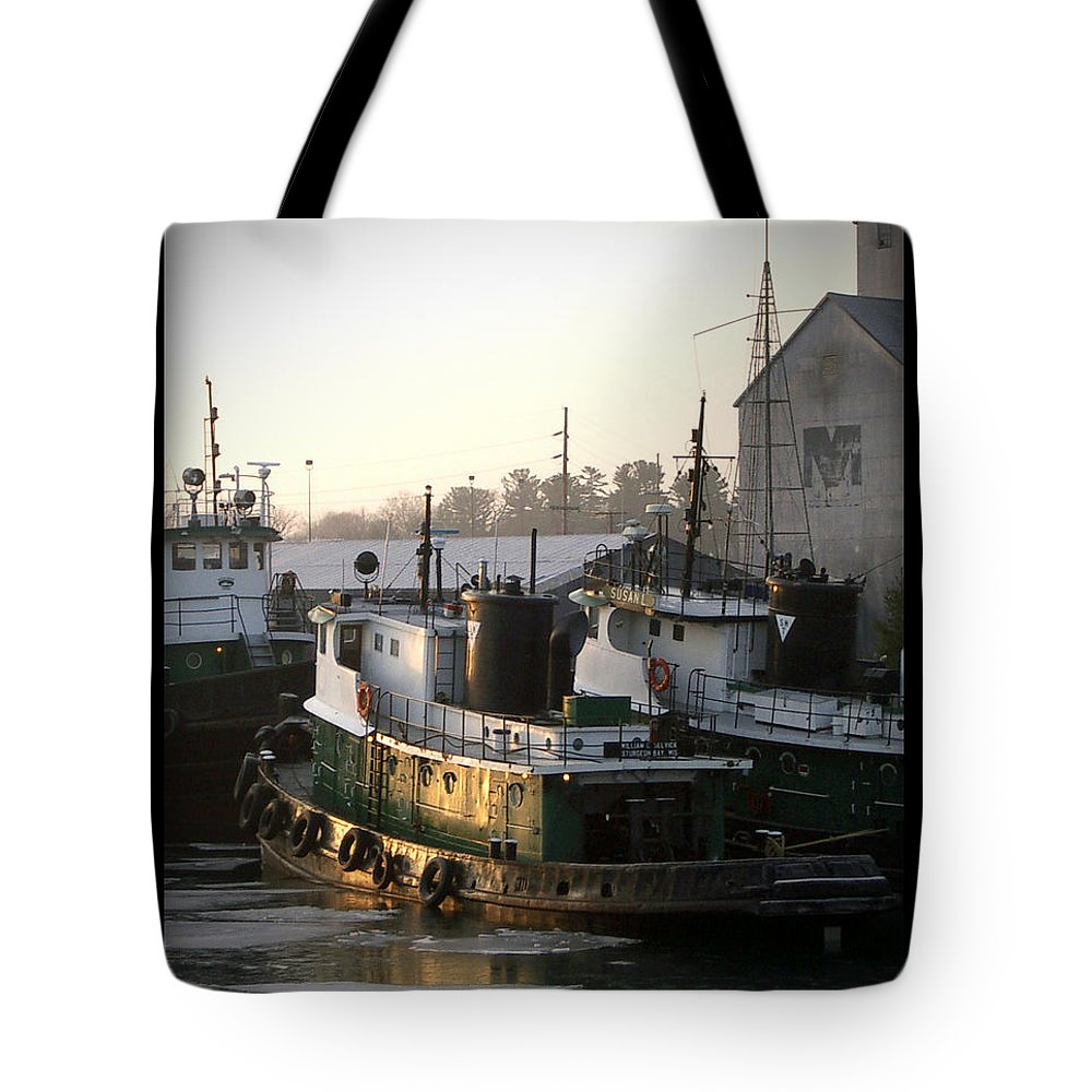 Tugs Tote Bag featuring the photograph Winter Tugs by Tim Nyberg