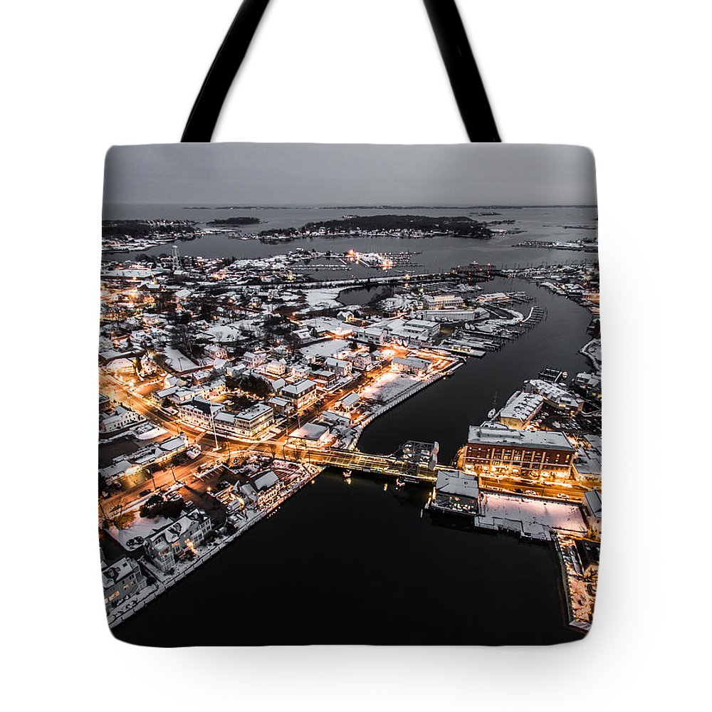 Winter Tote Bag featuring the photograph Winter Twilight In Mystic Connecticut by Petr Hejl