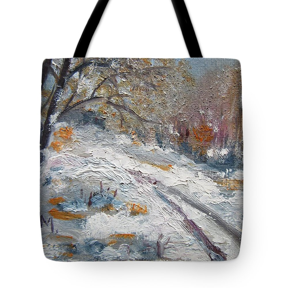 Winter Tote Bag featuring the painting Winter I by Vesna Martinjak