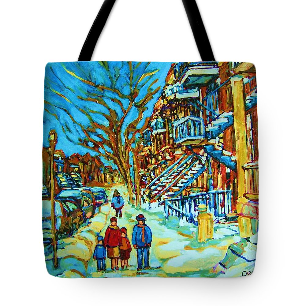 Winterscenes Tote Bag featuring the painting Winter Walk In The City by Carole Spandau