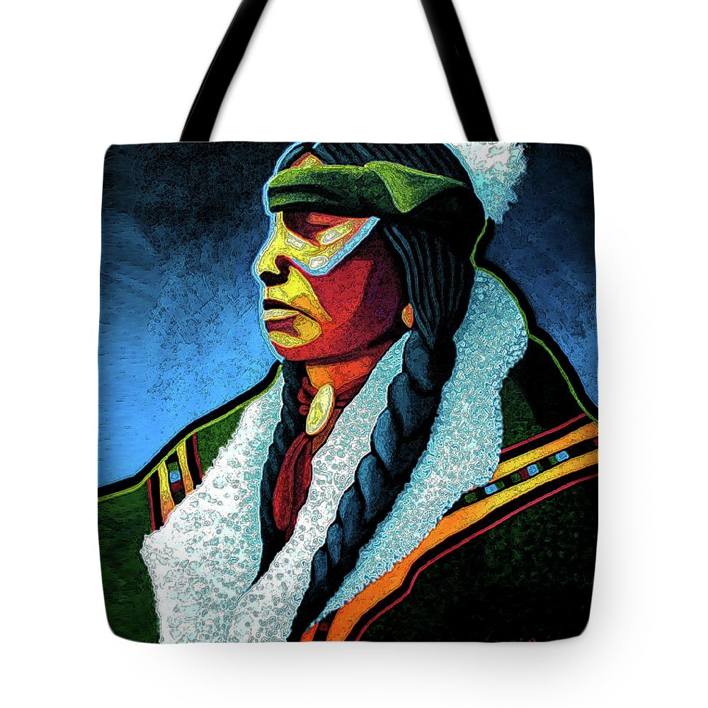 Contemporary Native American Art Tote Bag featuring the painting Winter Warrior by Lance Headlee