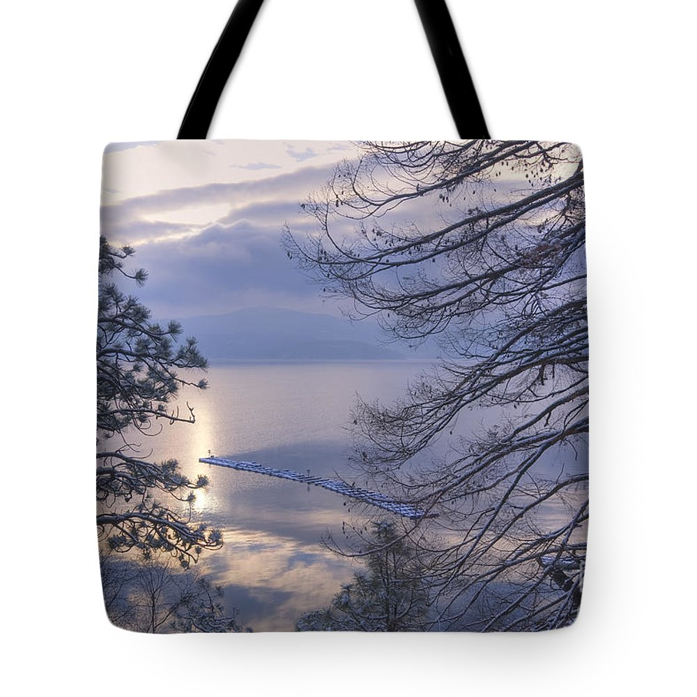 Waterscape Tote Bag featuring the photograph Winter Waterscape by Idaho Scenic Images Linda Lantzy