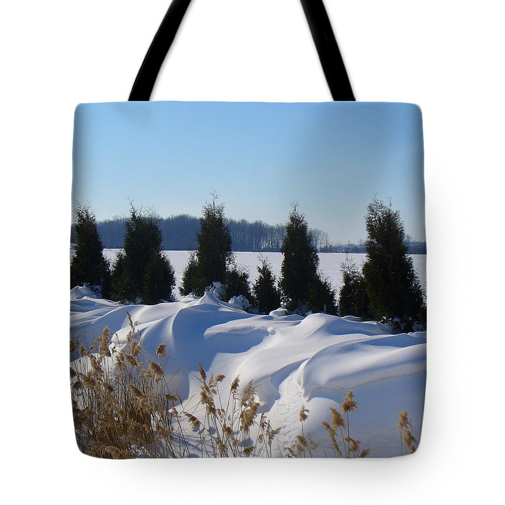Snow Tote Bag featuring the photograph Winter Waves by Peggy King