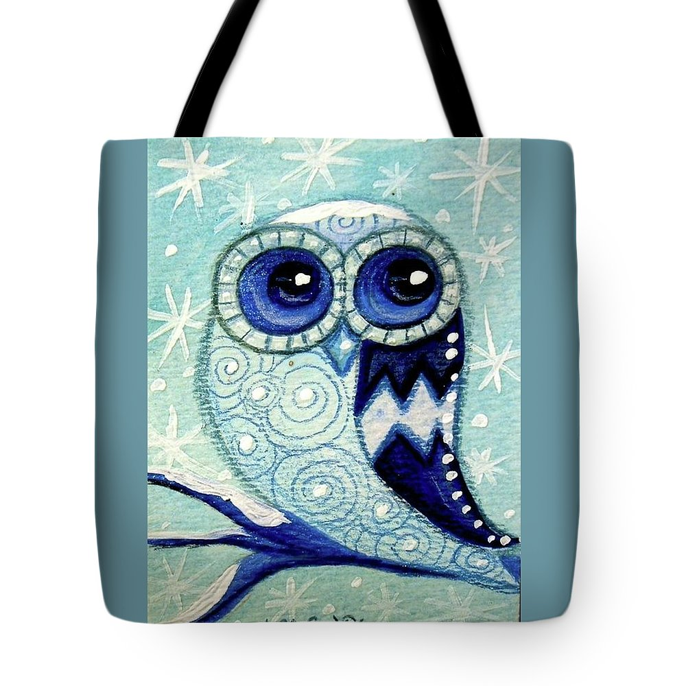 Whimsical Tote Bag featuring the painting Winter Whimsical Owl by Monica Resinger