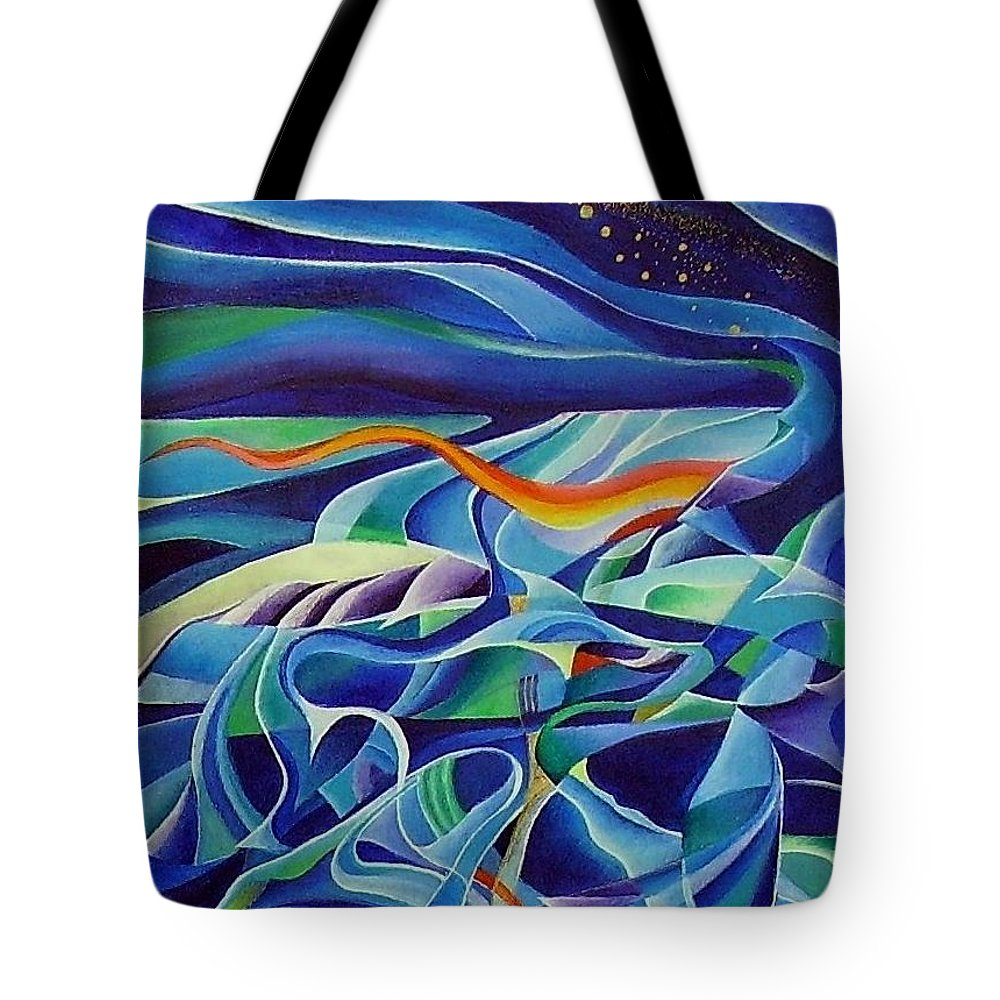 Winter Vivaldi Music Abstract Acrylic Tote Bag featuring the painting Winter by Wolfgang Schweizer