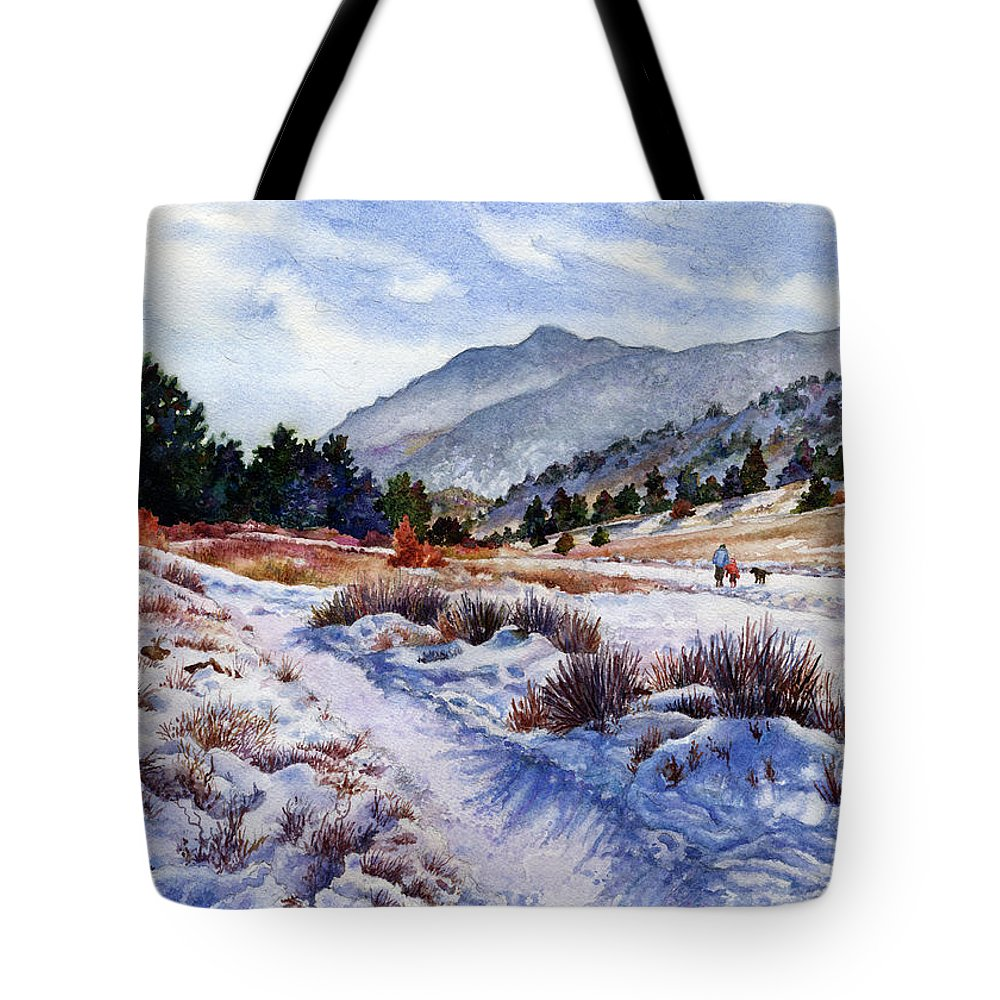 Snow Scene Painting Tote Bag featuring the painting Winter Wonderland by Anne Gifford