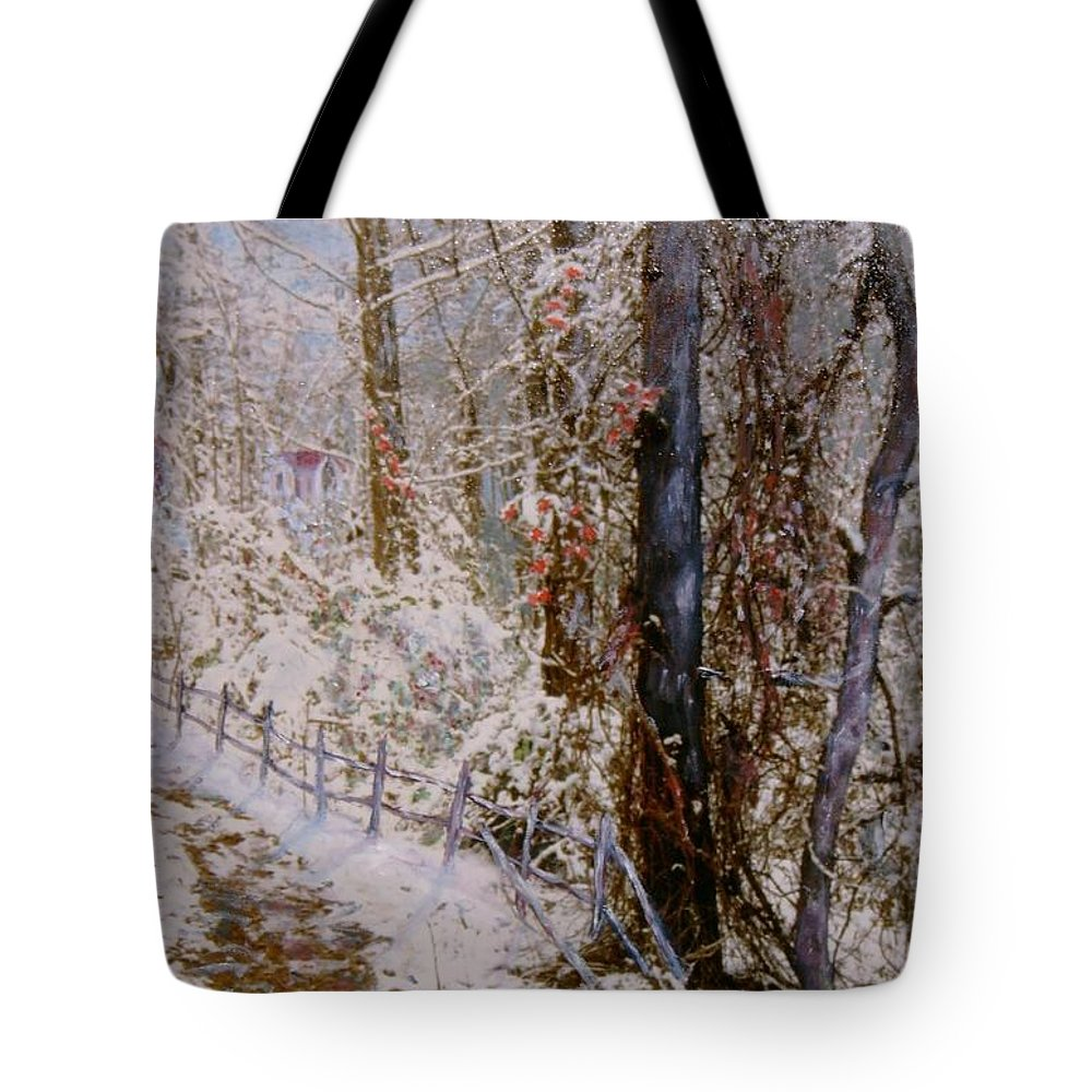 Snow; Trees Tote Bag featuring the painting Winter Wonderland by Ben Kiger