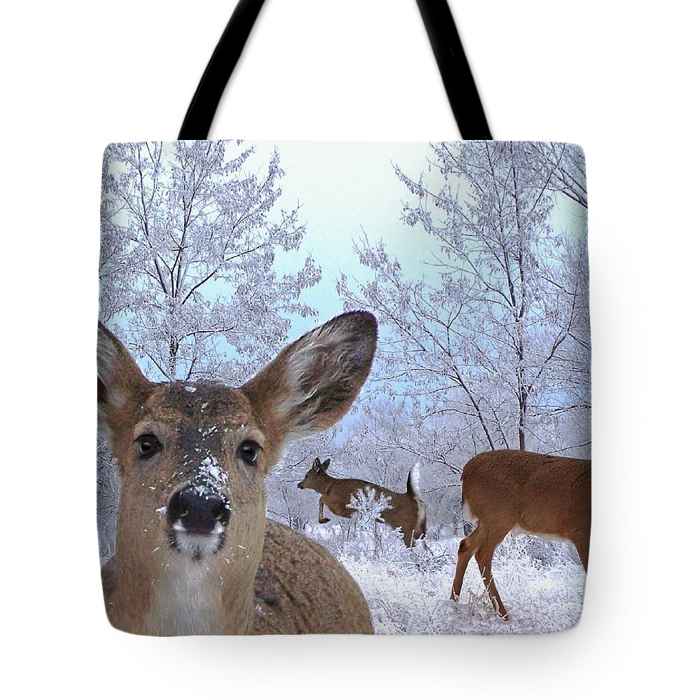 Deer Tote Bag featuring the mixed media Winter Wonderland by Bill Stephens