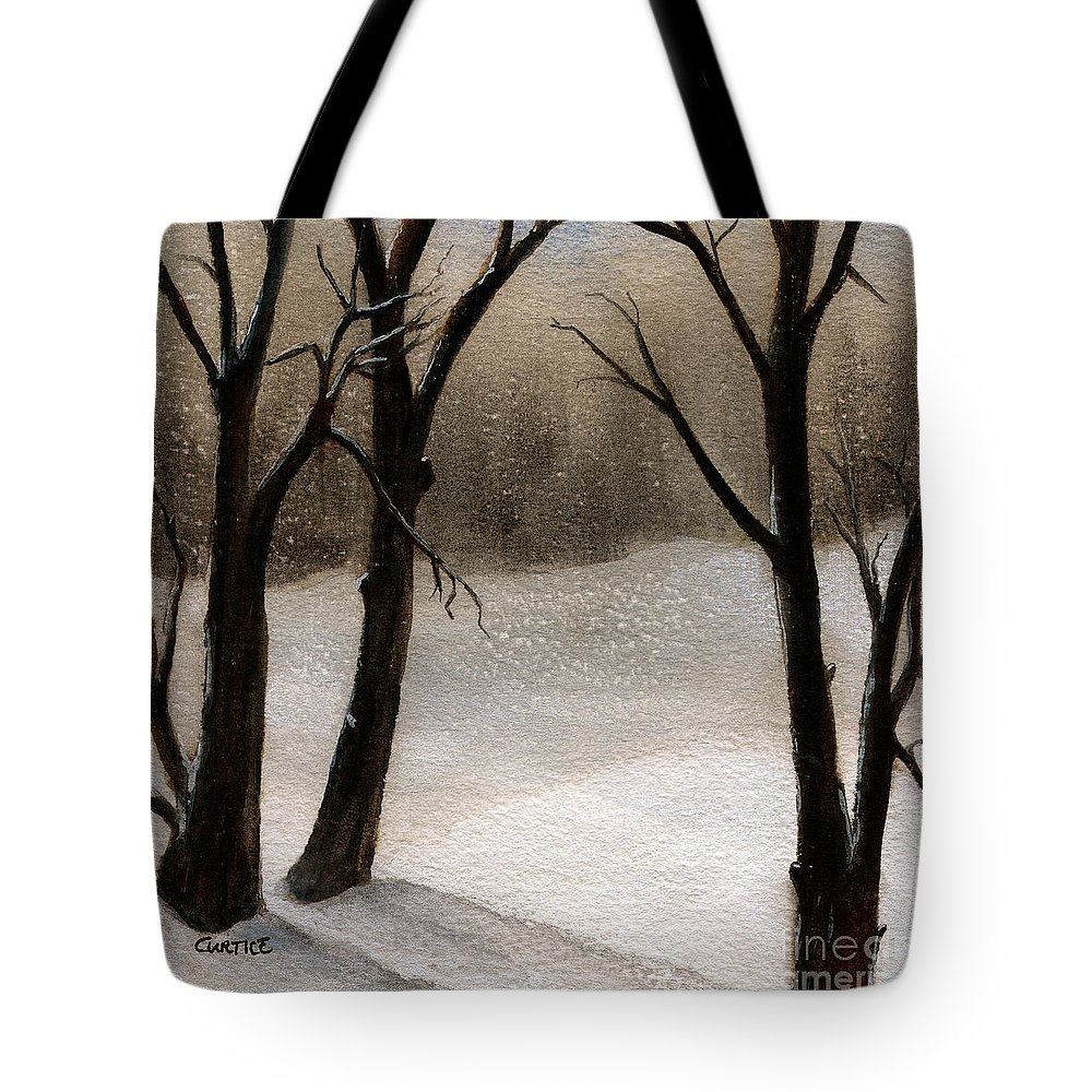 Snow Tote Bag featuring the painting Winter Woods by Carolyn Curtice