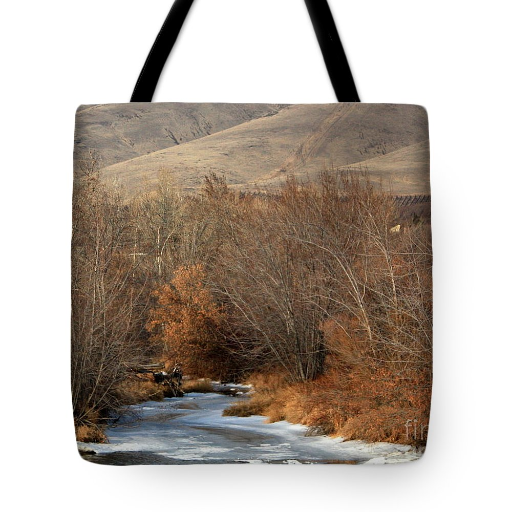 Yakima Tote Bag featuring the photograph Winter Yakima River With Hills And Orchard by Carol Groenen