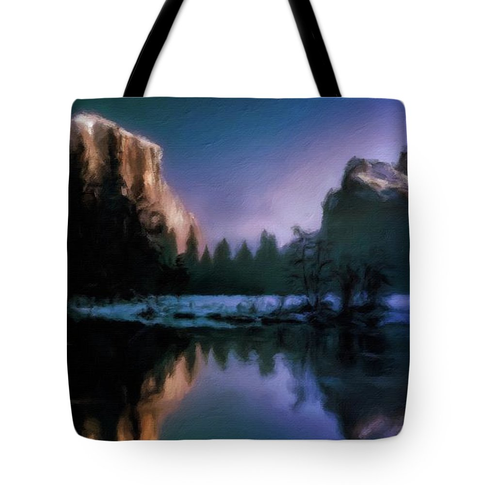 Landscape Tote Bag featuring the painting Winters Lake by Sarah Kirk