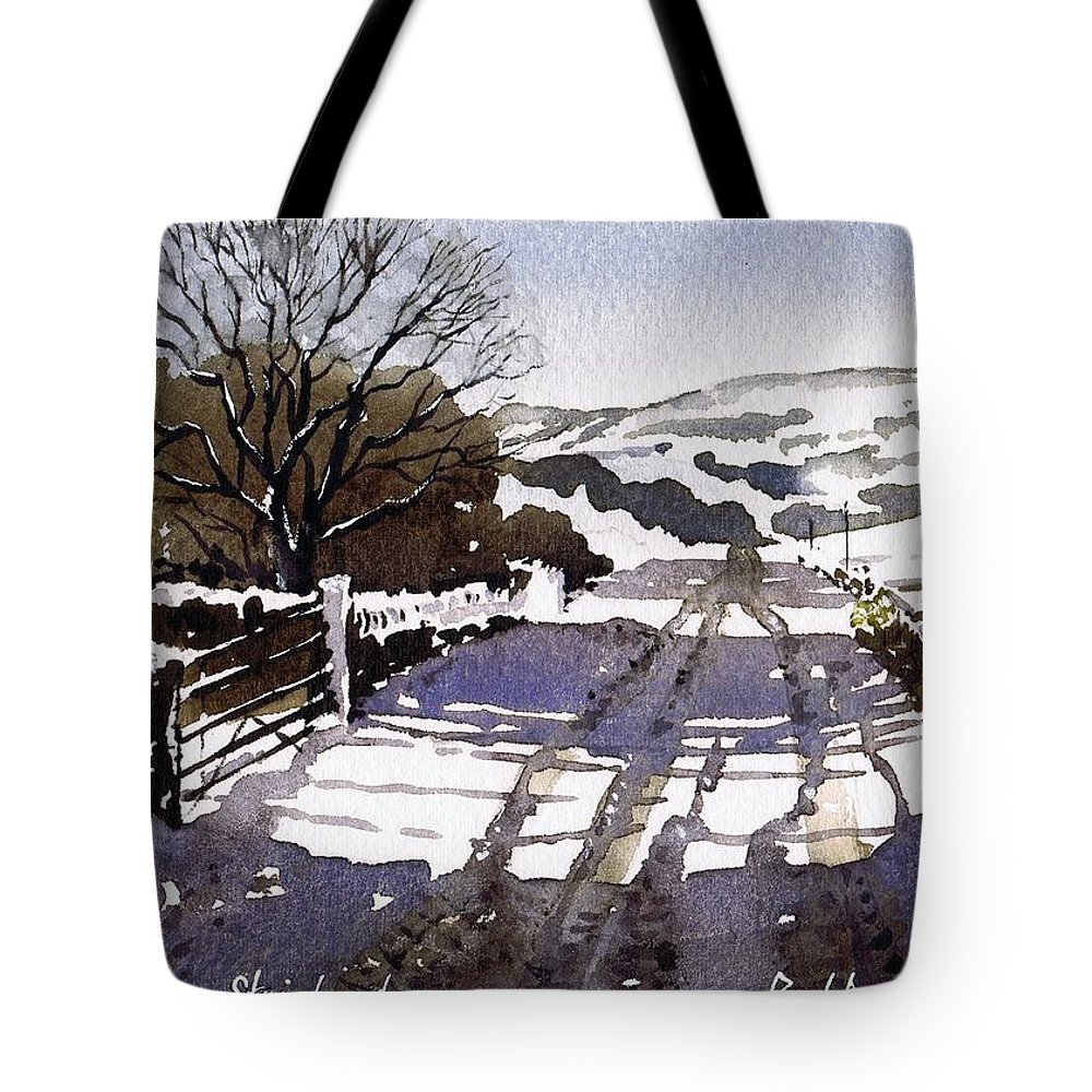 Winter Tote Bag featuring the painting Winters Lane Stainland by Paul Dene Marlor