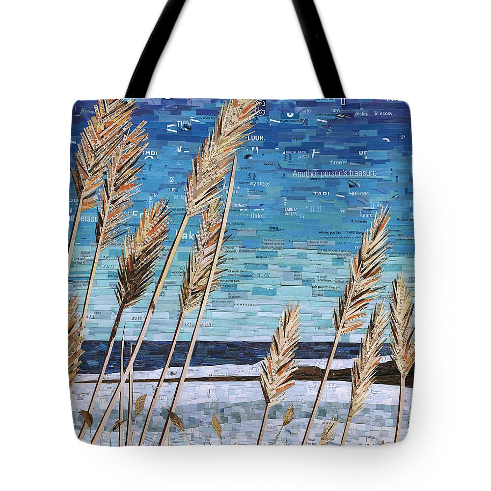 Magazine Collage Tote Bag featuring the mixed media Wintertime On Lake Erie by Shawna Rowe