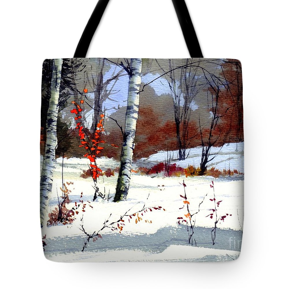 Village Tote Bag featuring the painting Wintertime Painting by Suzann's Art