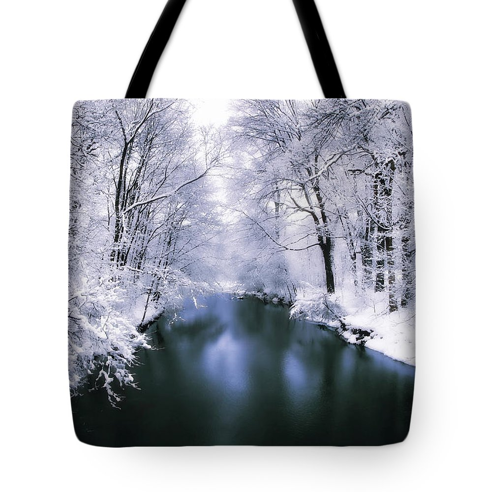 Winter Tote Bag featuring the photograph Wintry White by Jessica Jenney