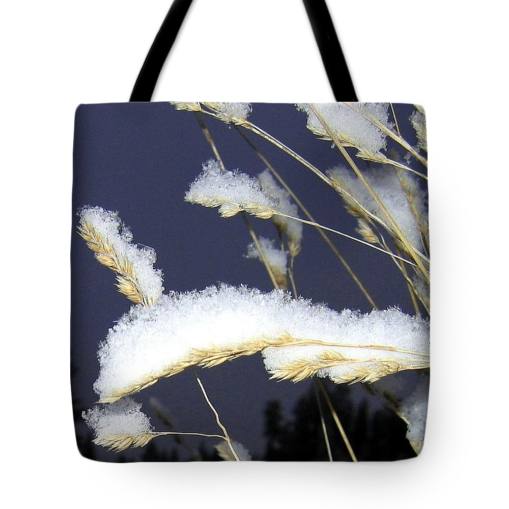 Wild Oats Tote Bag featuring the photograph Wintry Wild Oats by Will Borden