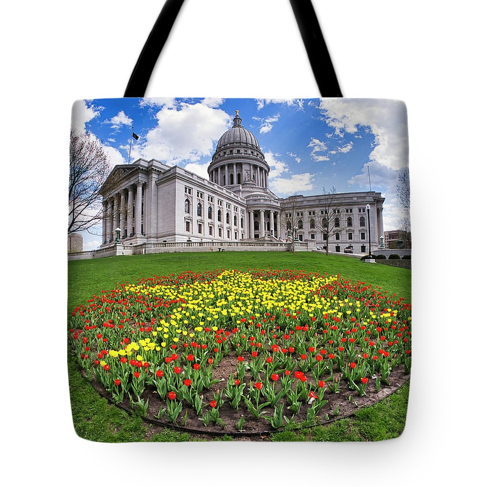 Wi Tote Bag featuring the photograph Wisconsin Capitol And Tulips by Steven Ralser