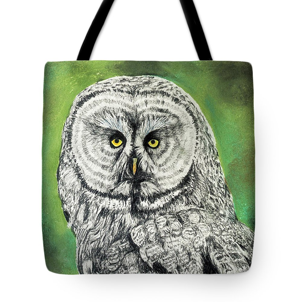 Owl Tote Bag featuring the drawing Wisdom by WHITE Studio
