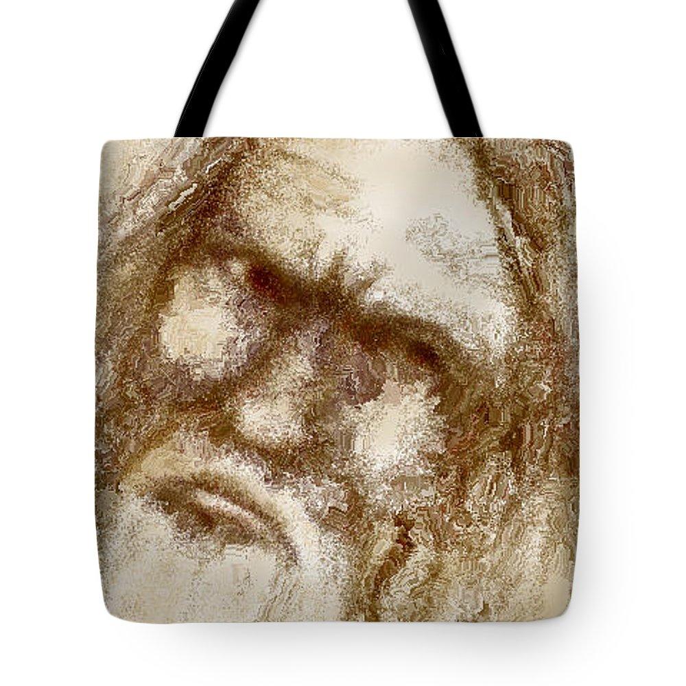 Portrait Tote Bag featuring the digital art Wisdom by Ellen Dawson