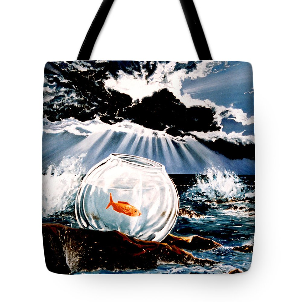 Surreal Tote Bag featuring the painting Wish You Were Here by Mark Cawood
