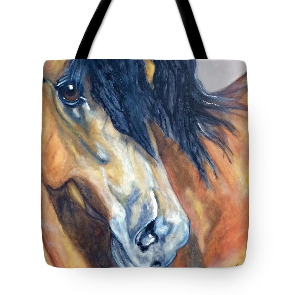 Horse Tote Bag featuring the painting Wishbone by Mary Papageorgiou