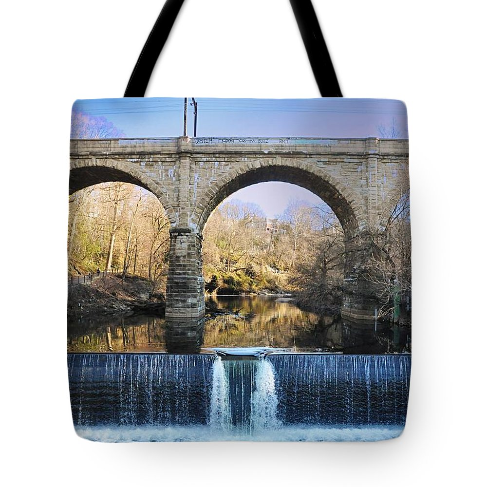 Wissahickon Tote Bag featuring the photograph Wissahickon Viaduct by Bill Cannon