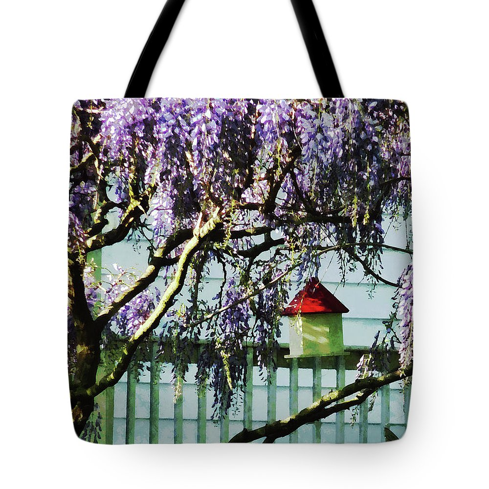 Spring Tote Bag featuring the photograph Wisteria And Birdhouse by Susan Savad