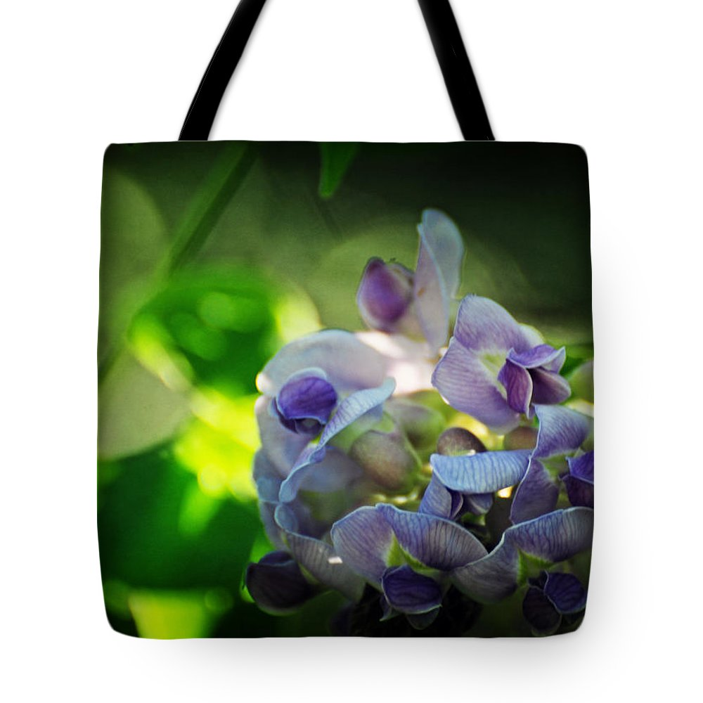 American Tote Bag featuring the photograph Wisteria Frutescens Amethyst Falls by Rebecca Sherman