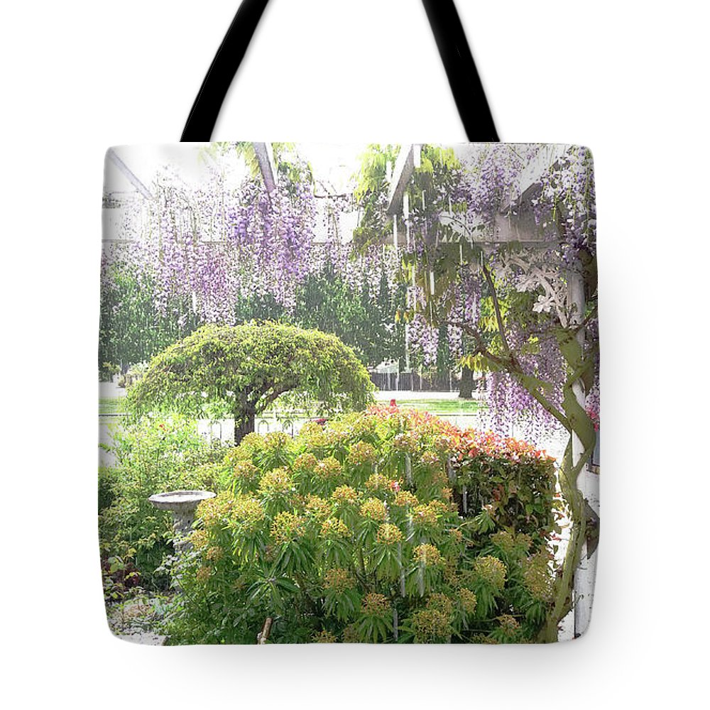 Hail Tote Bag featuring the photograph Wisteria In Hailstorm by Nareeta Martin