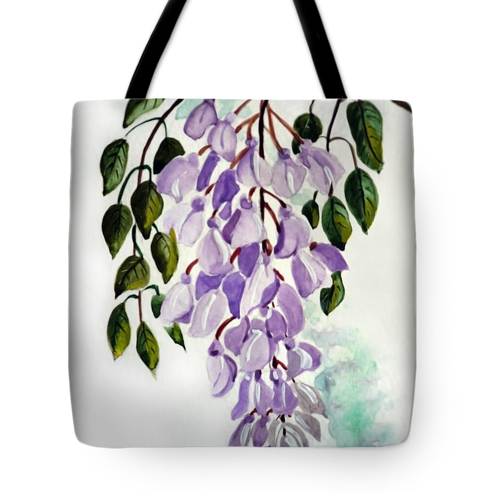 Floral Paintings Flower Paintings Wisteria Paintings Botanical Paintings Flower Purple Paintings Greeting Card Paintings  Tote Bag featuring the painting Wisteria by Karin Dawn Kelshall- Best