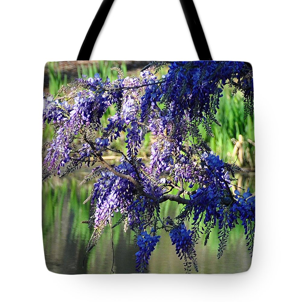 Blue Tote Bag featuring the photograph Wisteria by Terry Anderson