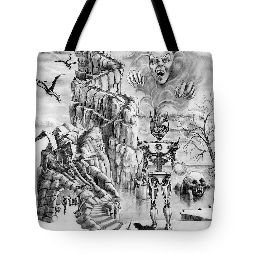 Witch Tote Bag featuring the drawing Witch Hunter by Murphy Elliott