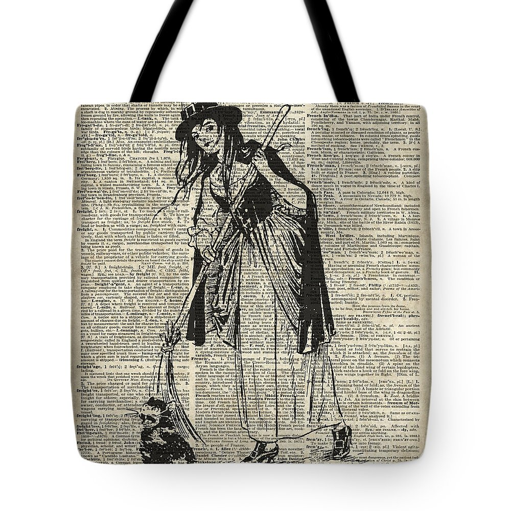Witch Tote Bag featuring the digital art Witch With Broom And Cat Haloowen Party Decoration Gift In Vintage Style by Anna W