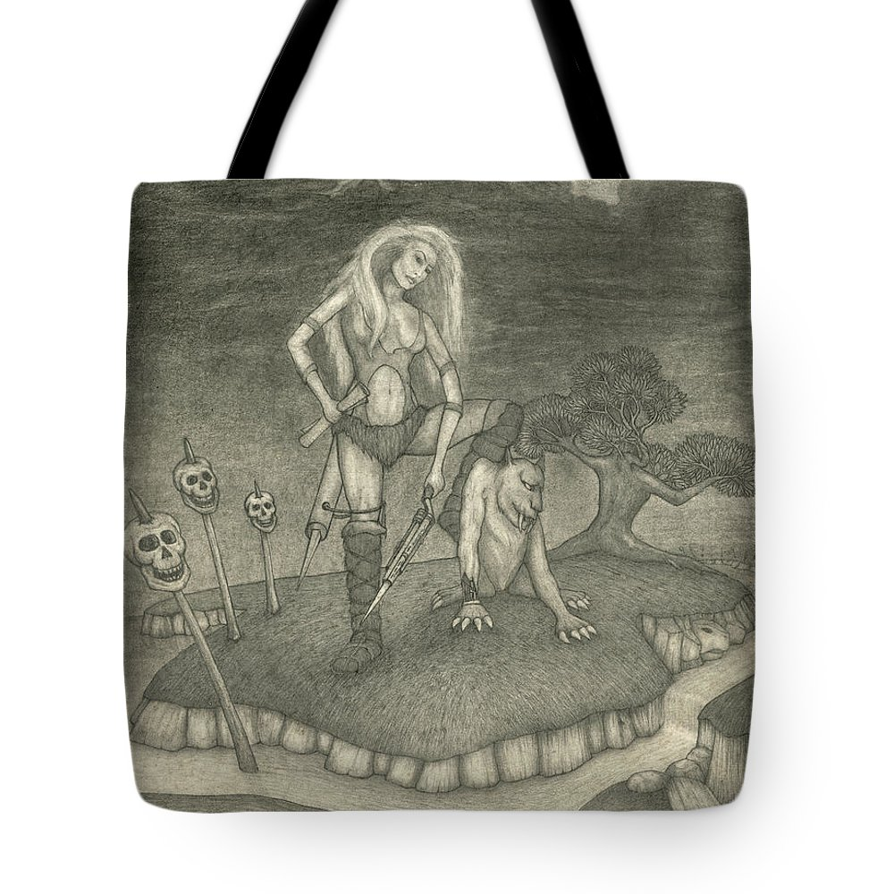 Fantasy Art Tote Bag featuring the drawing Witch Woman by Michael Highsmith