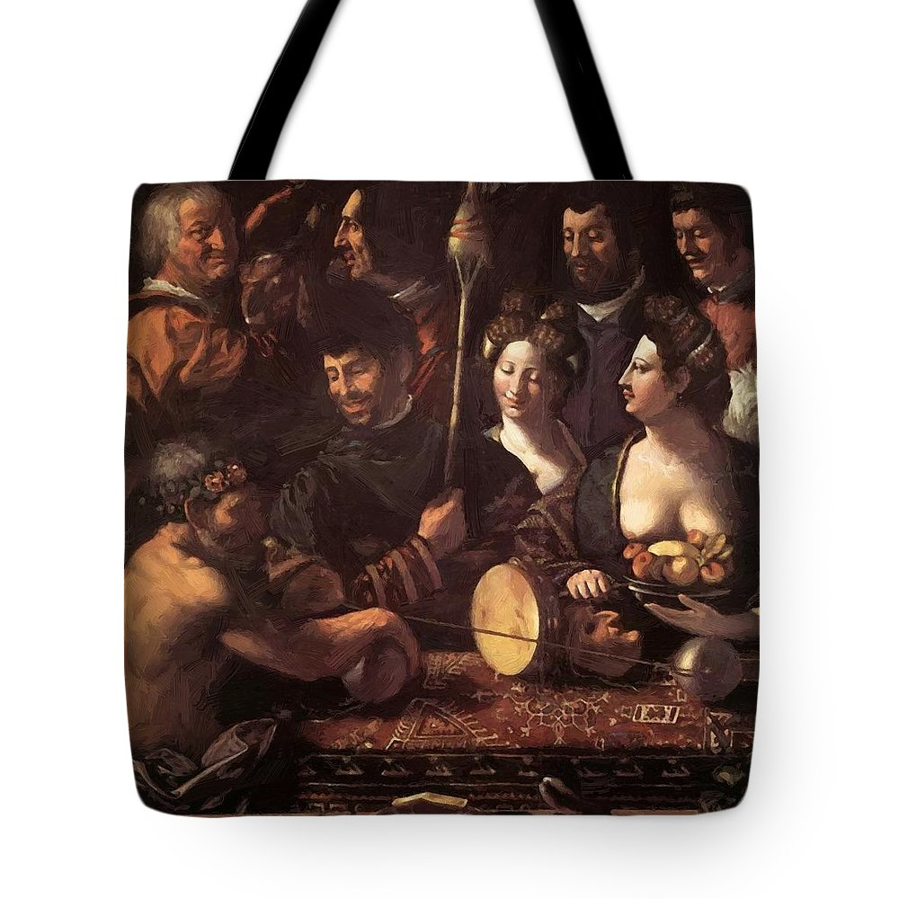Witchcraft Tote Bag featuring the painting Witchcraft Allegory Of Hercules 1535 by Dossi Dosso