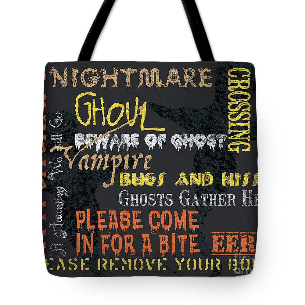 Halloween Tote Bag featuring the painting Witchcraft Typography by Debbie DeWitt